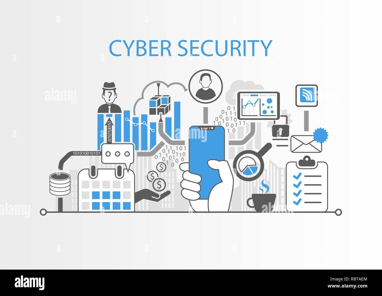 Cyber security concept with hand holding modern bezel free smart phone - Stock Image