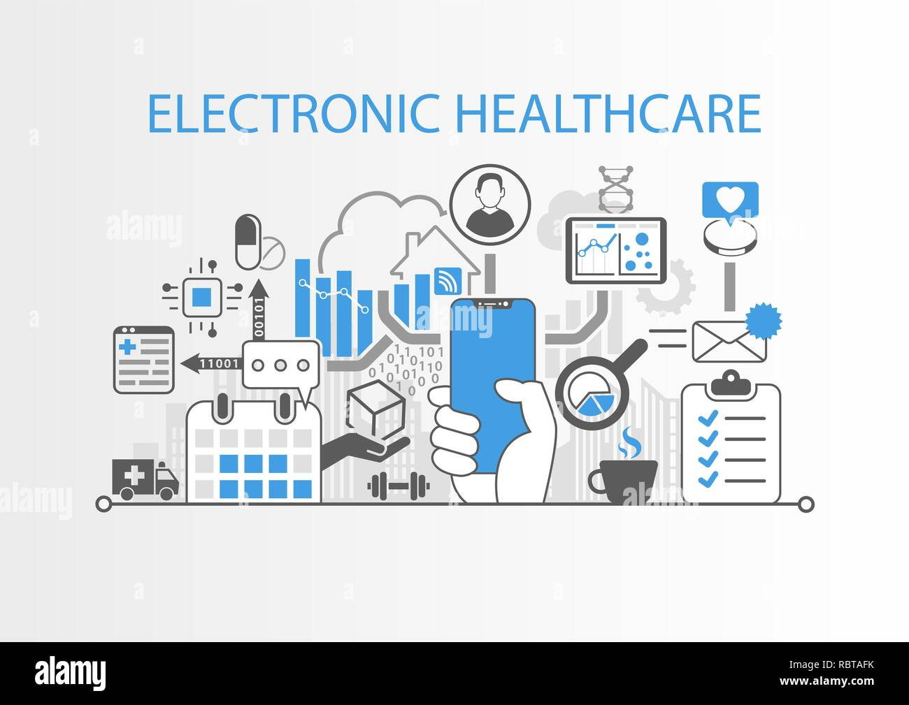 Electronic healthcare concept with hand holding modern bezel free smart phone Stock Vector
