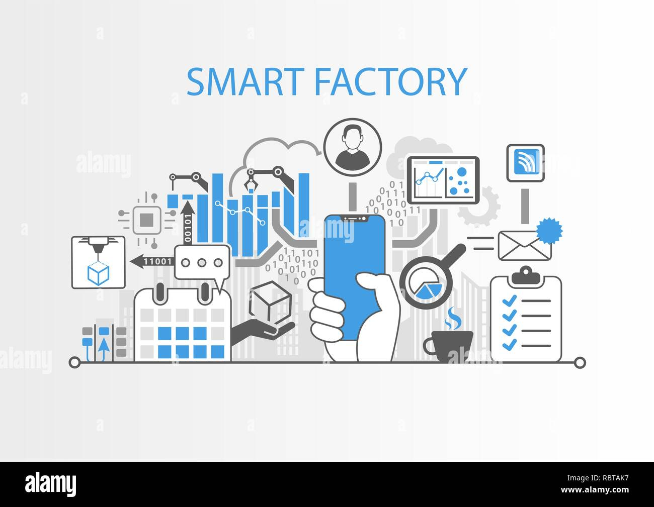 Smart factory concept with hand holding modern bezel free smart phone Stock Vector