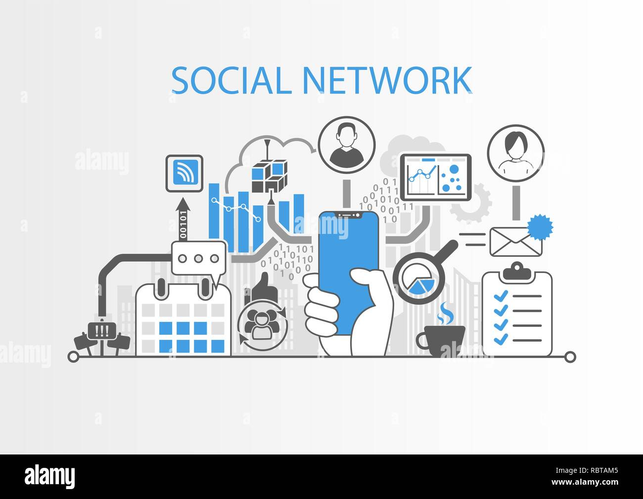 Social network concept with hand holding modern bezel free smart phone Stock Vector