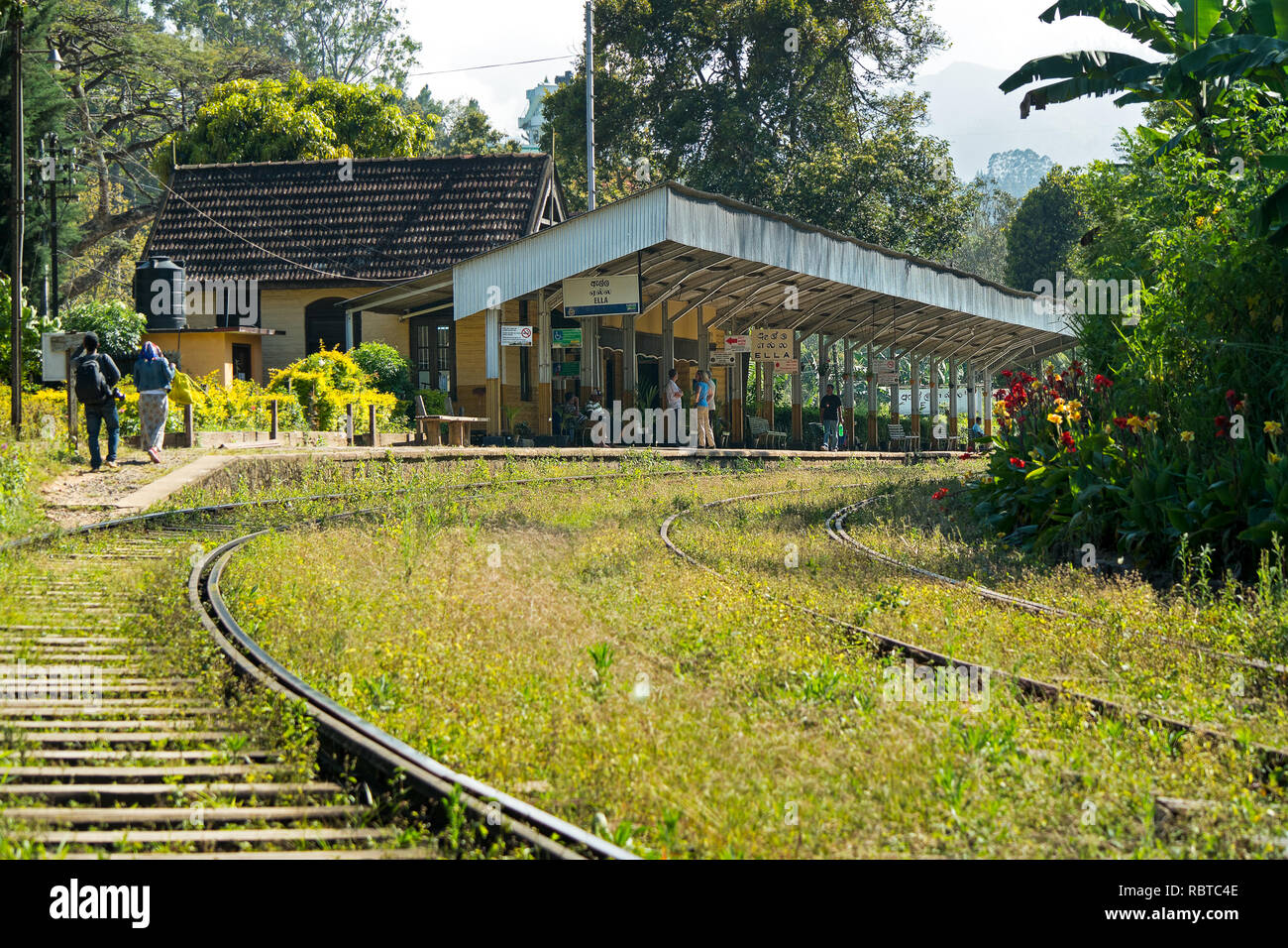 The picturesquely situated Ella Railway Station. The start of the popular tourist train trip of Ella to Kandy. - Stock Image