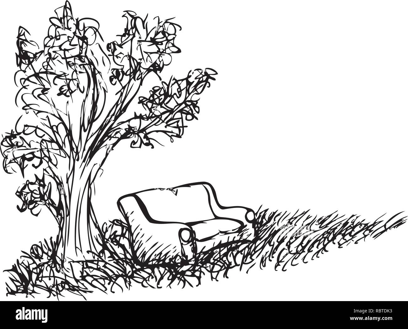 Sketch of a sofa put down on a field by jziprian - Stock Image