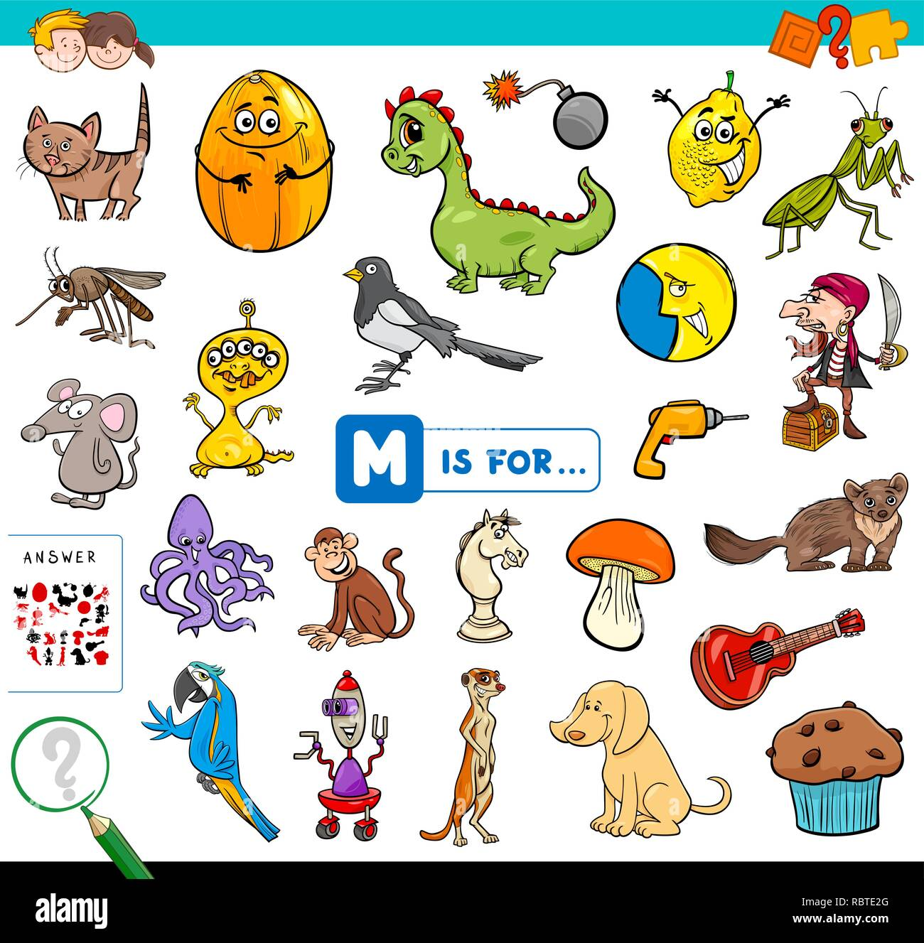 Cartoon Illustration Of Finding Picture Starting With Letter M Educational Game Workbook For Children Stock Vector Image Art Alamy