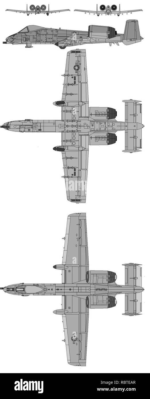 A-10 Schematics. - Stock Image