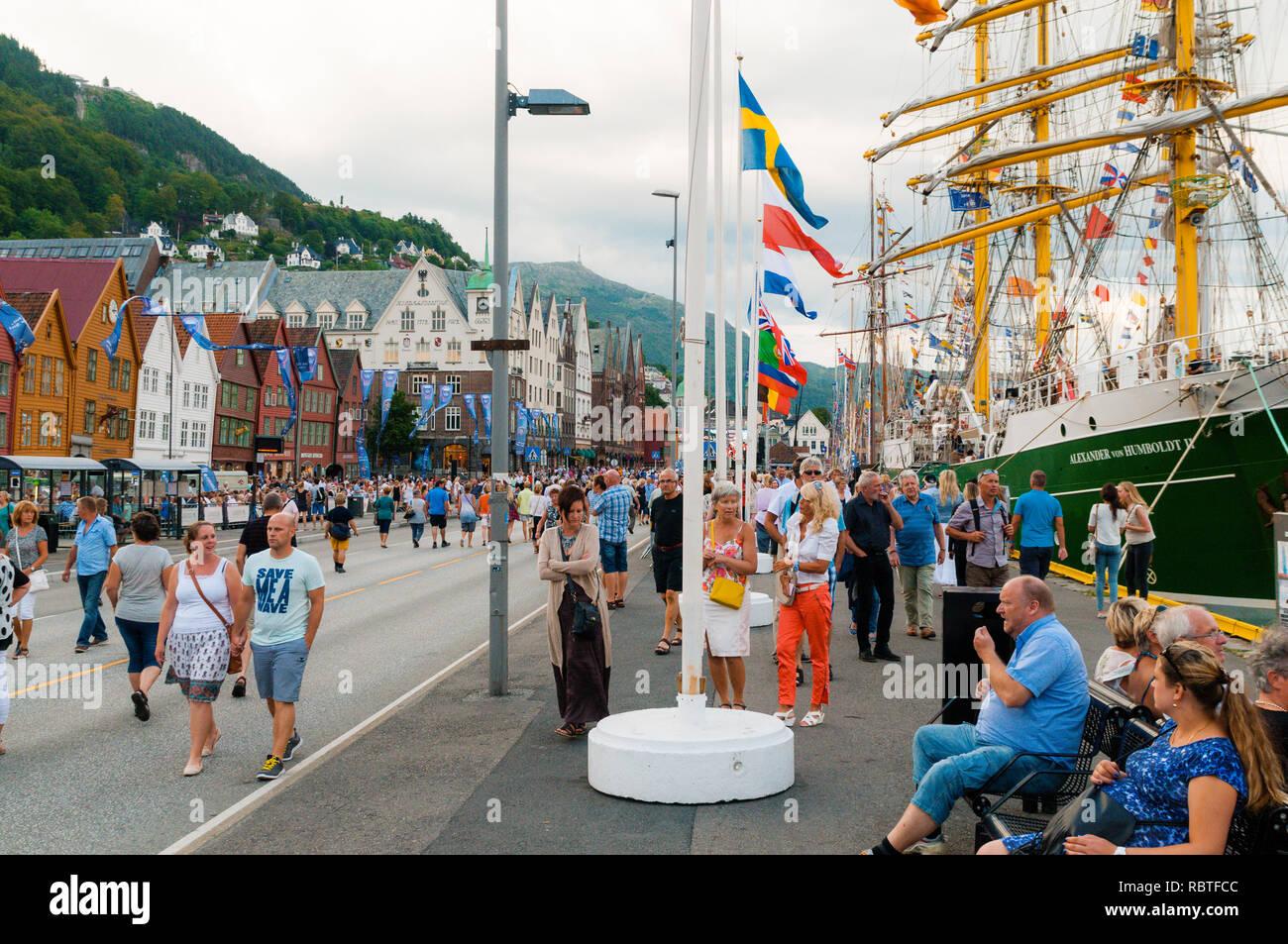 Tall Ship Races 2014, Bryggen Bergen, Norway - Stock Image