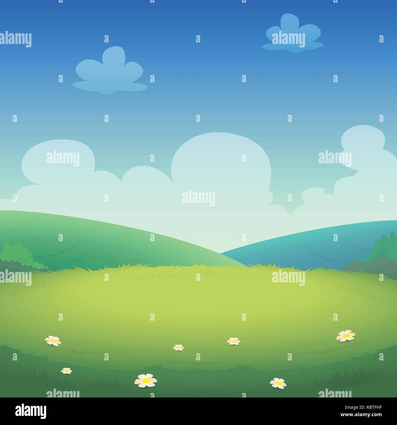 Spring landscape with fields and green hills - vector illustration - Stock Vector