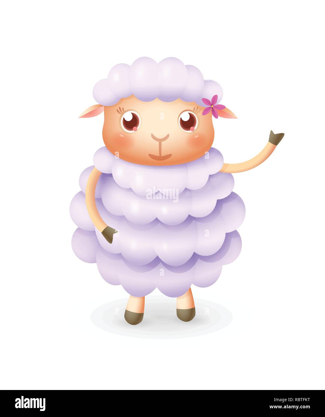 Cute happy sheep smile and wave - vector illustration - Stock Image