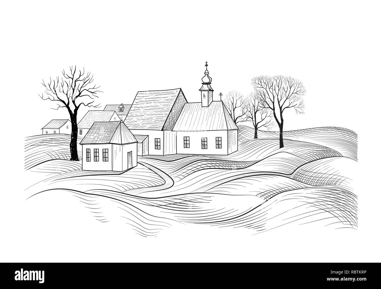 Sketch of house architecture. Country side skyline with perspective of exterior house - Stock Image