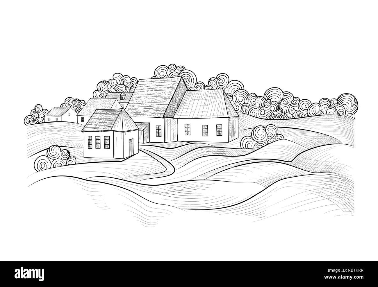 Sketch of rural landscape with hills, fields and countryhouse. Skyline with coundtry houses and farm buildings - Stock Image