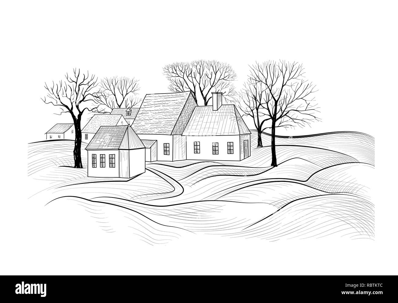 Countryside rural landscape with village house sketch of countryhouse building with fields farm land
