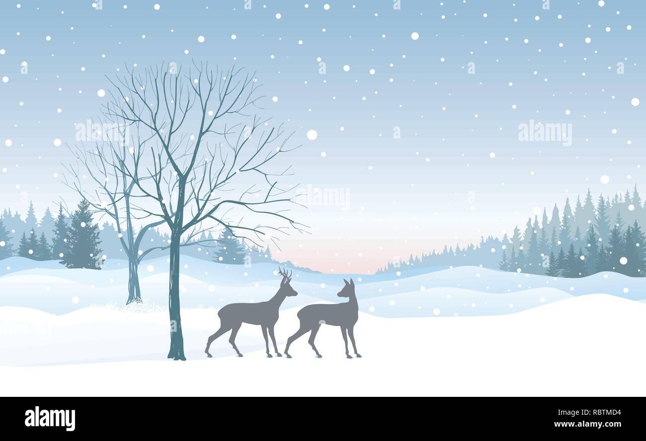 Merry Christmas Wallpaper.Christmas Background Snow Winter Landscape Skyline With