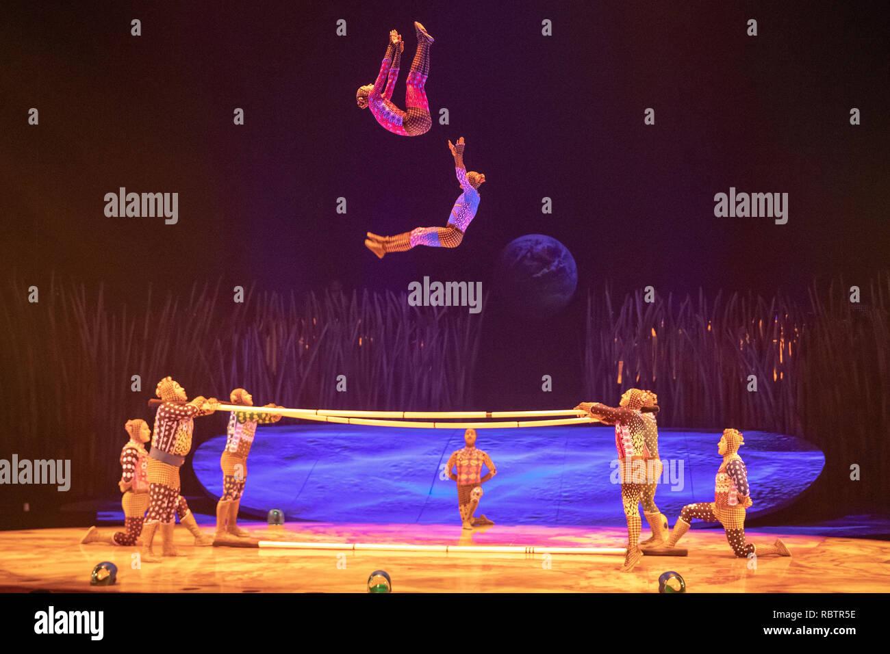 A cast member of Cirque Du Soleil performs in Cirque Du