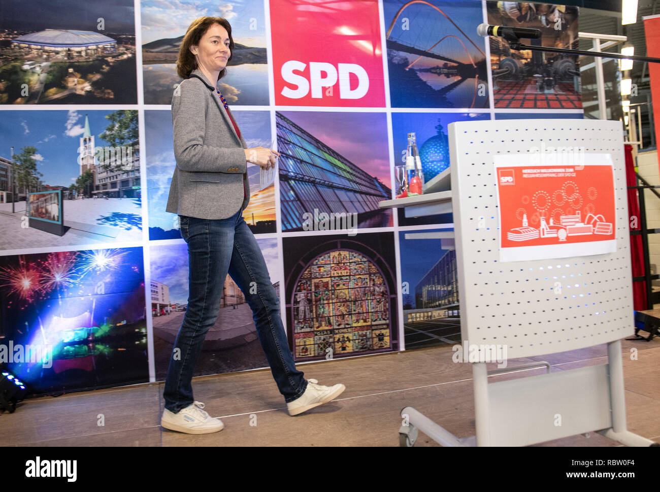 Gelsenkirchen, Germany. 12th Jan, 2019. Katarina Barley, Federal Minister of Justice and top candidate for the European elections, will go to the New Year's reception of the SPD Gelsenkirchen with Sneekers, a gift from the Jusos, and in jeans to the podium. Credit: Bernd Thissen/dpa/Alamy Live News - Stock Image