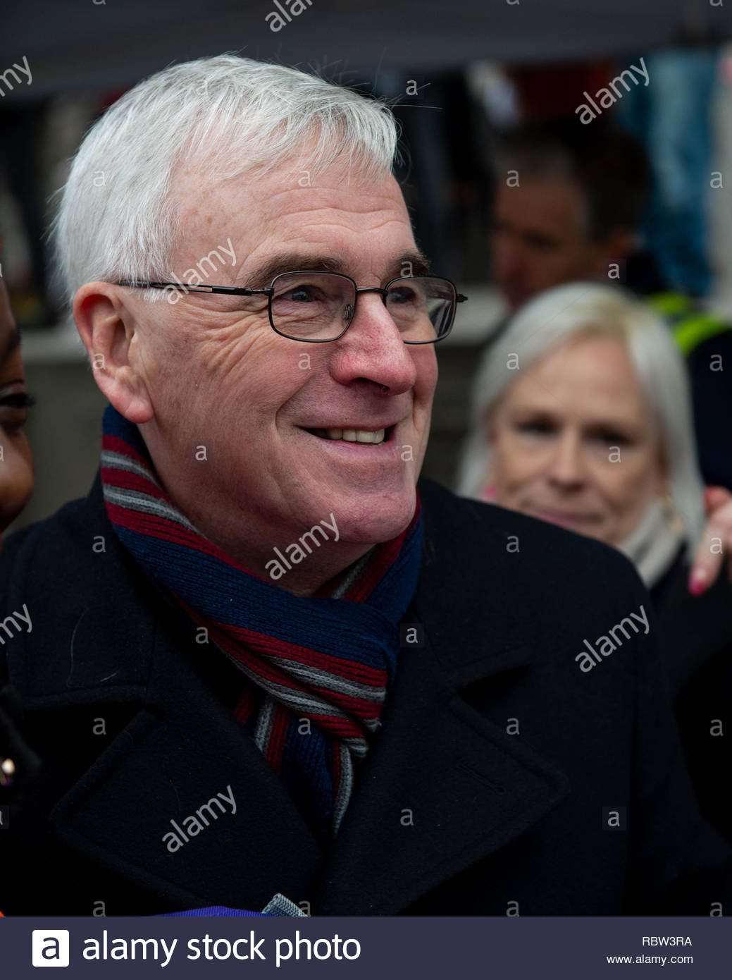 Shadow Chancellor John McDonnell arrives to give his speech. London, UK. 12th January, 2019. People from all over the Uk come to London to call for an end to austerity, and for a General Election. London, Great Britain, 12 Jan 2019  Credit: David Nash/Alamy Live News - Stock Image