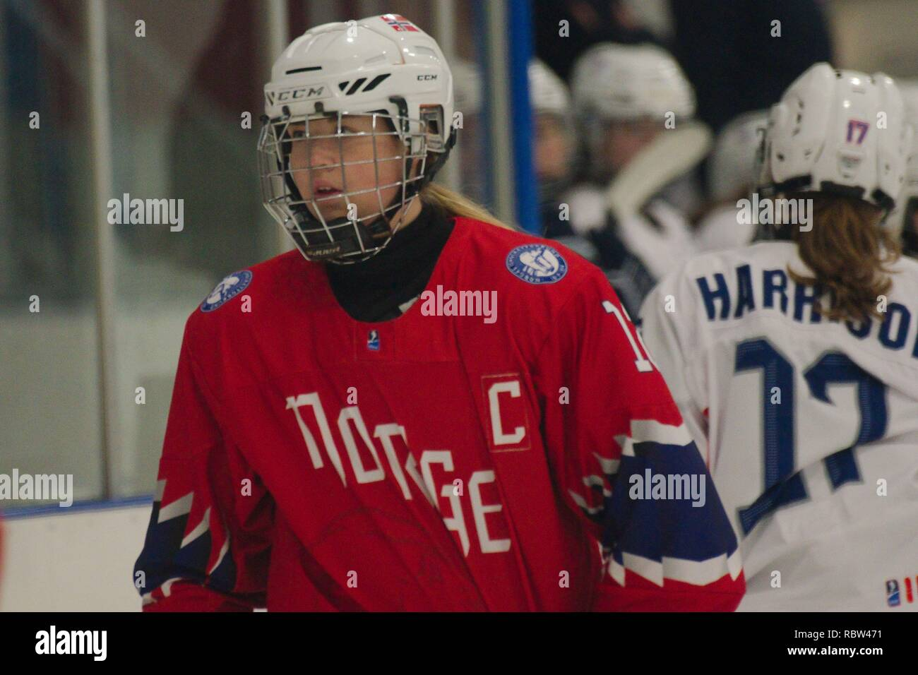 Dumfries, Scotland, 12 January 2019. Thea Jorgensen, captain of Norway, playing against France in the 2019 Ice Hockey U18 Women's World Championship, Division 1, Group B, at Dumfries Ice Bowl. Credit: Colin Edwards/Alamy Live News. - Stock Image