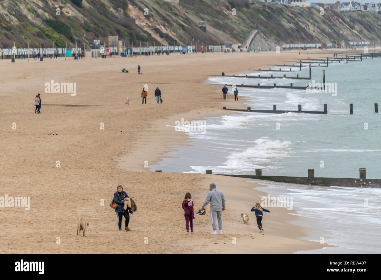 Bournemouth, Dorset, UK. 12th January 2019. Dog walkers wrap up warm to take their dogs out on the beach in Bournemouth on a winters day. Credit: Thomas Faull/Alamy Live News Stock Photo