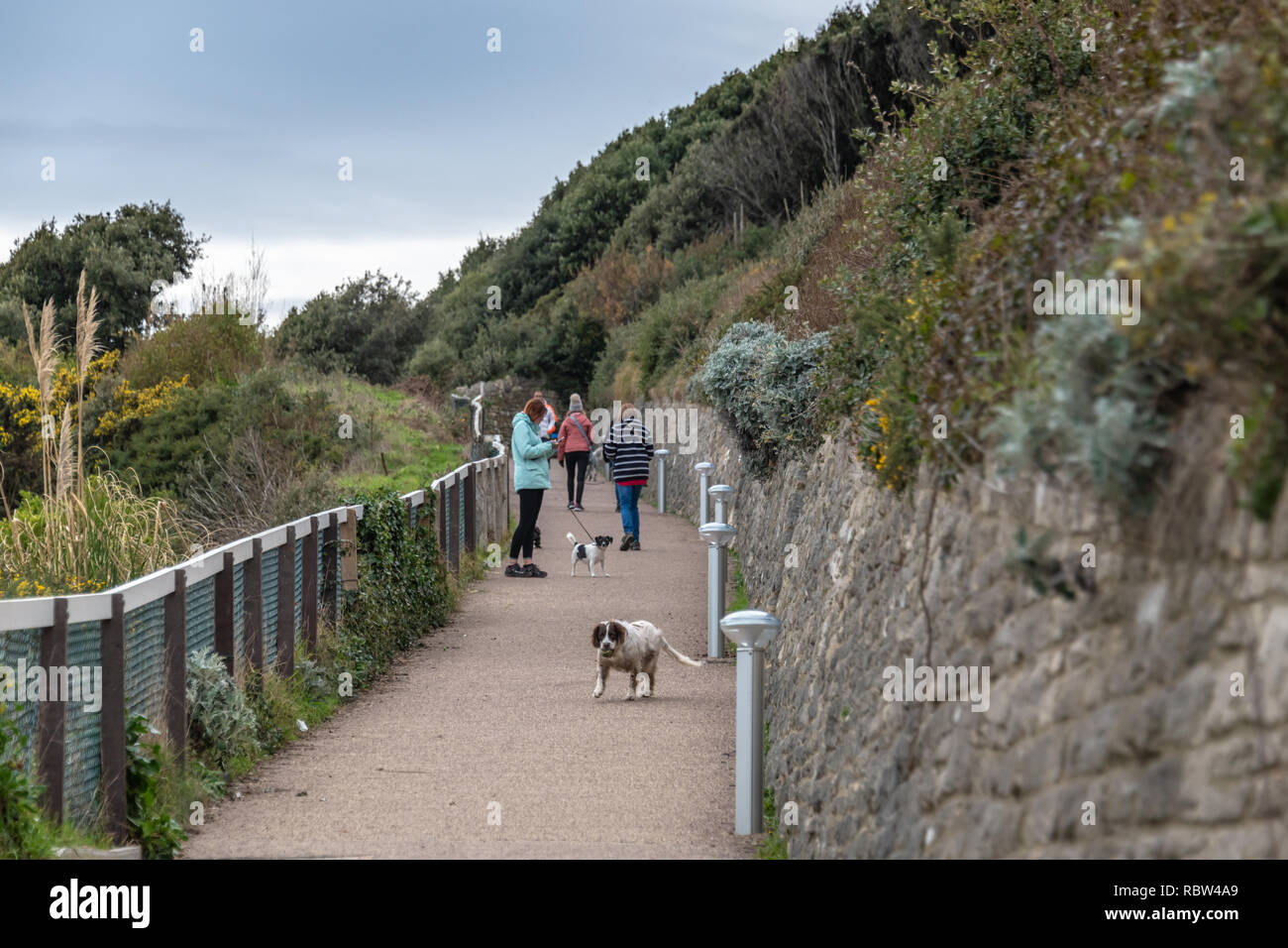 Bournemouth, Dorset, UK. 12th January 2019. People walking to the beach down a steep slope in Bournemouth. Credit: Thomas Faull/Alamy Live News Stock Photo
