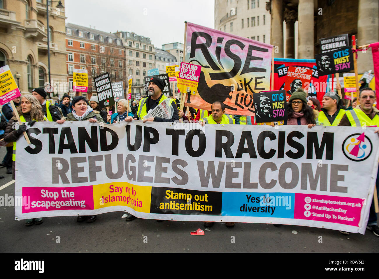 London, UK. 12th January, 2019. Britain is Broken - General Election Now! Started outside the BBC Portland Place. A UK version of the Yellow Vest protests organised  by The People's Assembly Against Austerity. Campaigning against all cuts, not less or slower cuts. No privatisation. No racist scapegoating. No evictions. Credit: Guy Bell/Alamy Live News - Stock Image