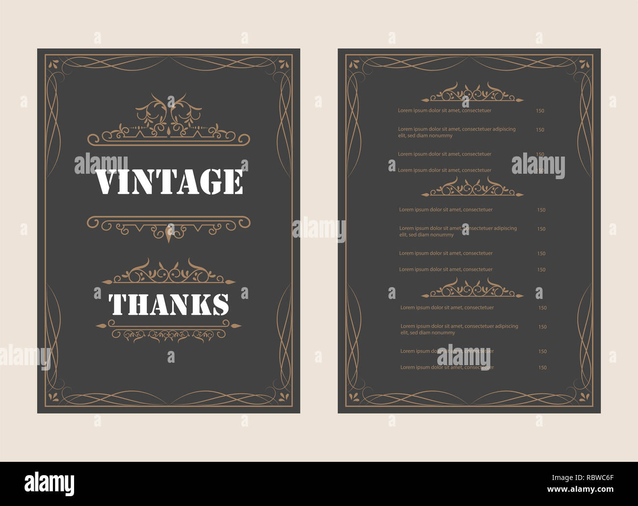 Vintage Ornament Greeting Card Vector Template And Retro