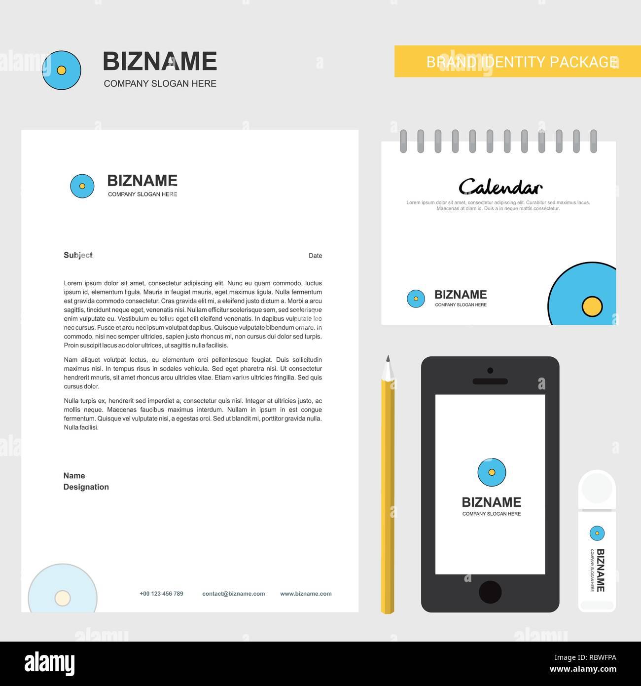 CD Business Letterhead, Calendar 2019 and Mobile app design