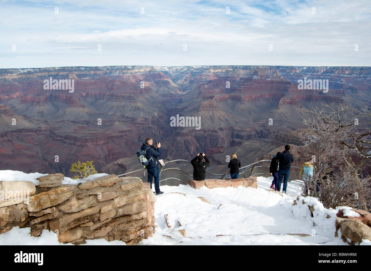 The Grand Canyon is an immense natural wonder. Located in Northern Arizona, the canyon is one mile deep on average, 18 miles wide and 277 miles long. - Stock Image