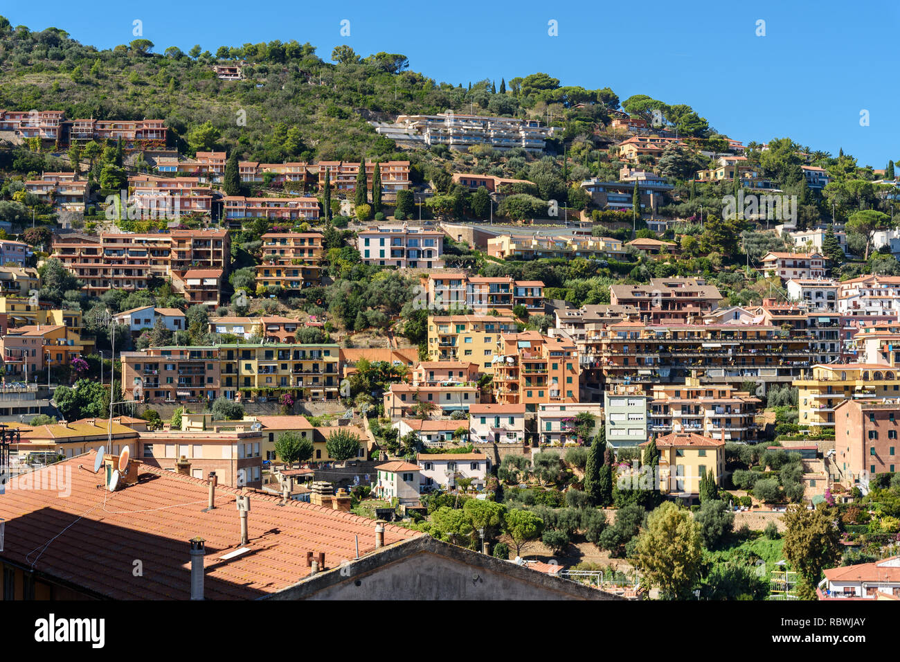 View of seaport town Porto Santo Stefano in Monte Argentario in Tuscany. Italy - Stock Image