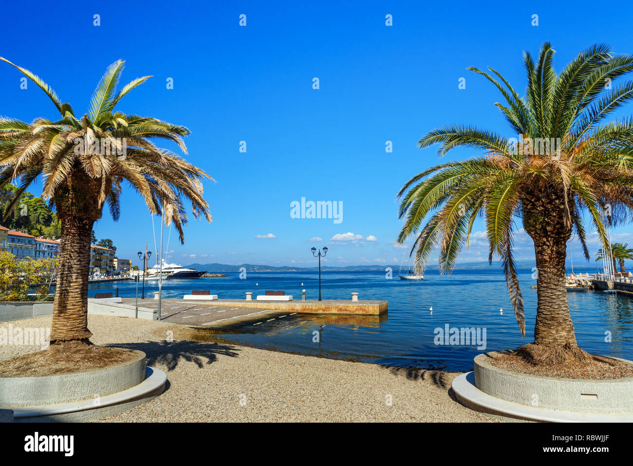 Seafront of seaport town Porto Santo Stefano in Monte Argentario in in Tuscany. Italy Stock Photo