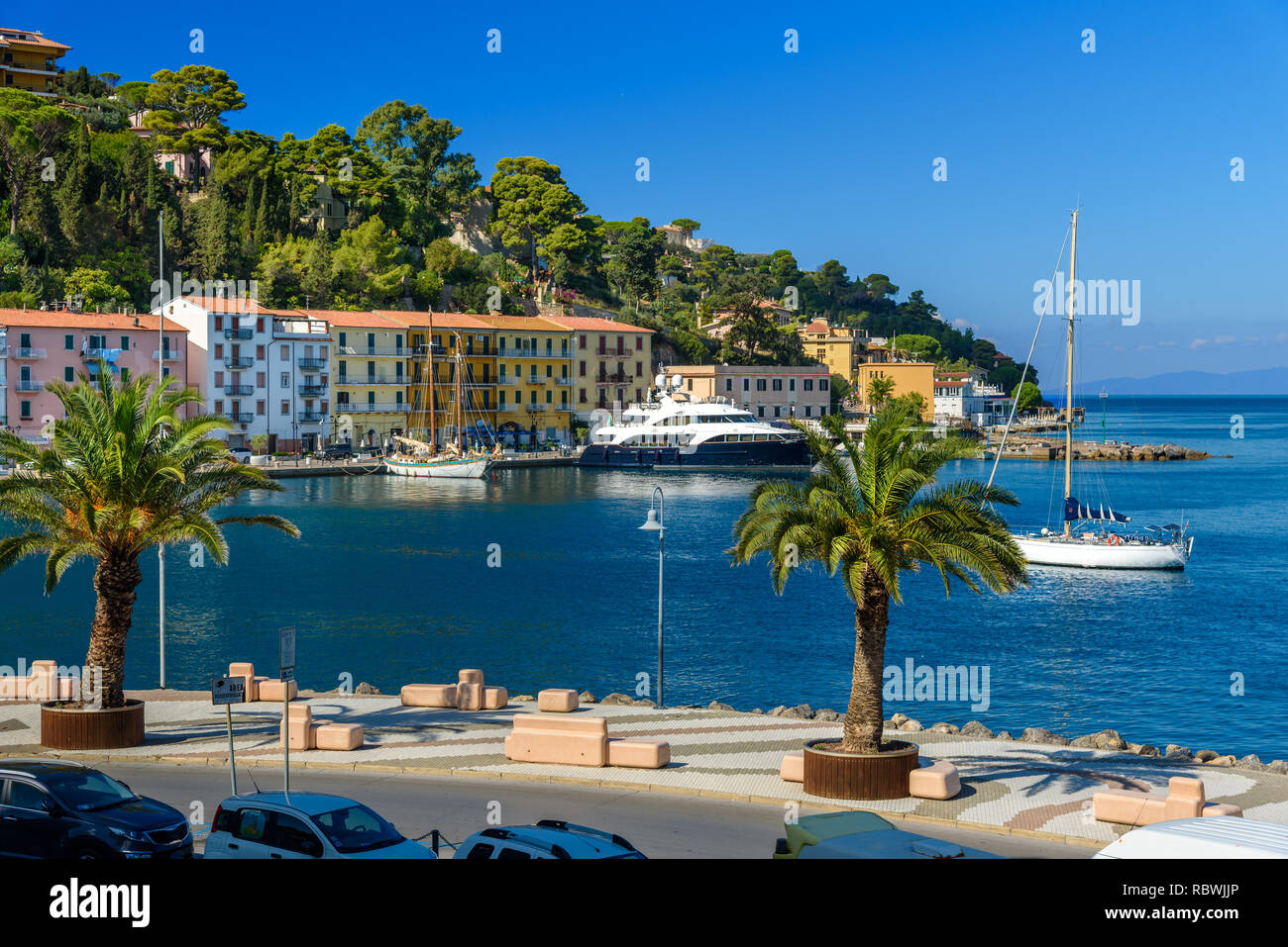Seafront of seaport town Porto Santo Stefano in Monte Argentario in Tuscany. Italy - Stock Image
