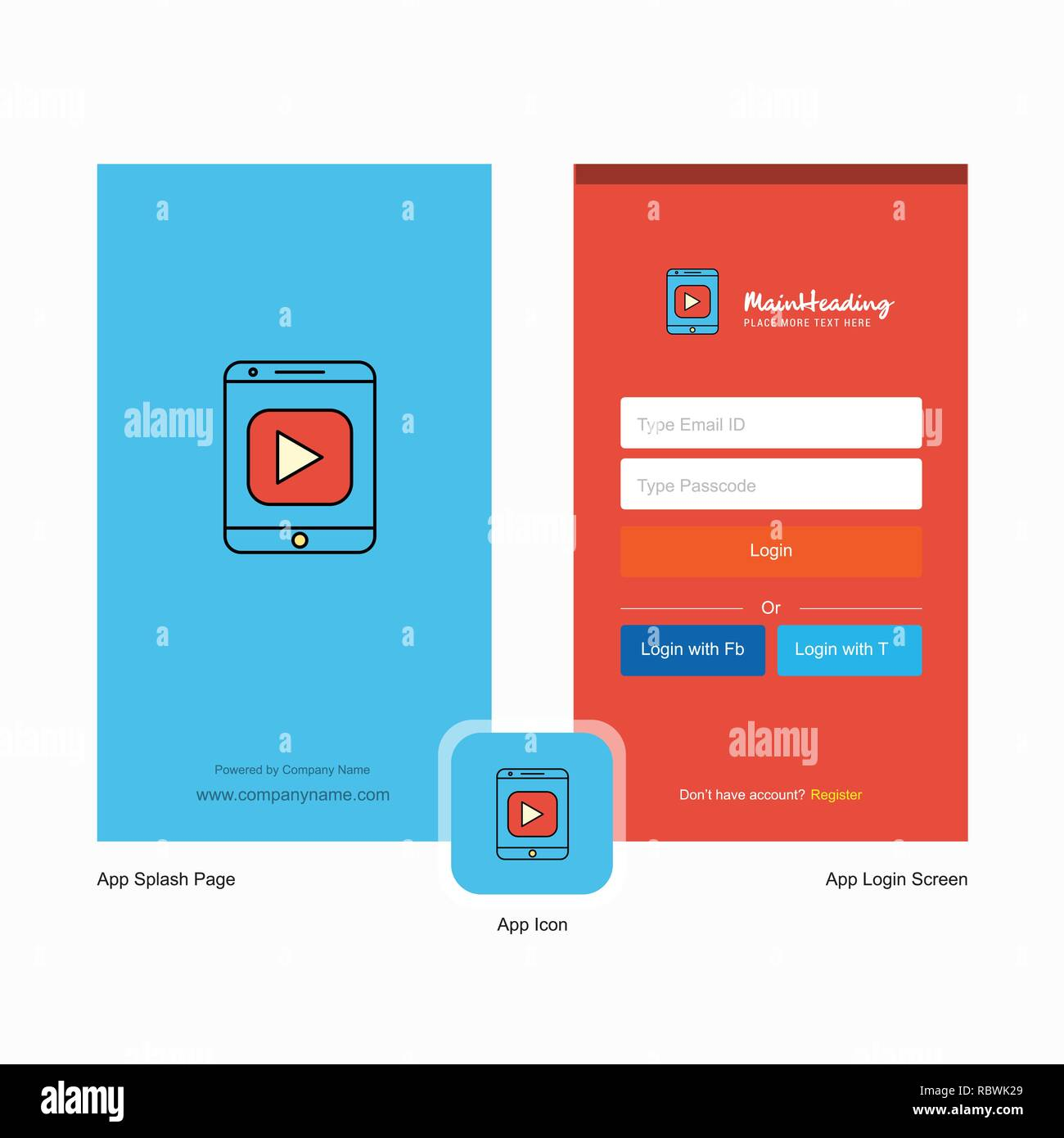 Company Video Splash Screen and Login Page design with Logo template. Mobile Online Business Template Stock Vector