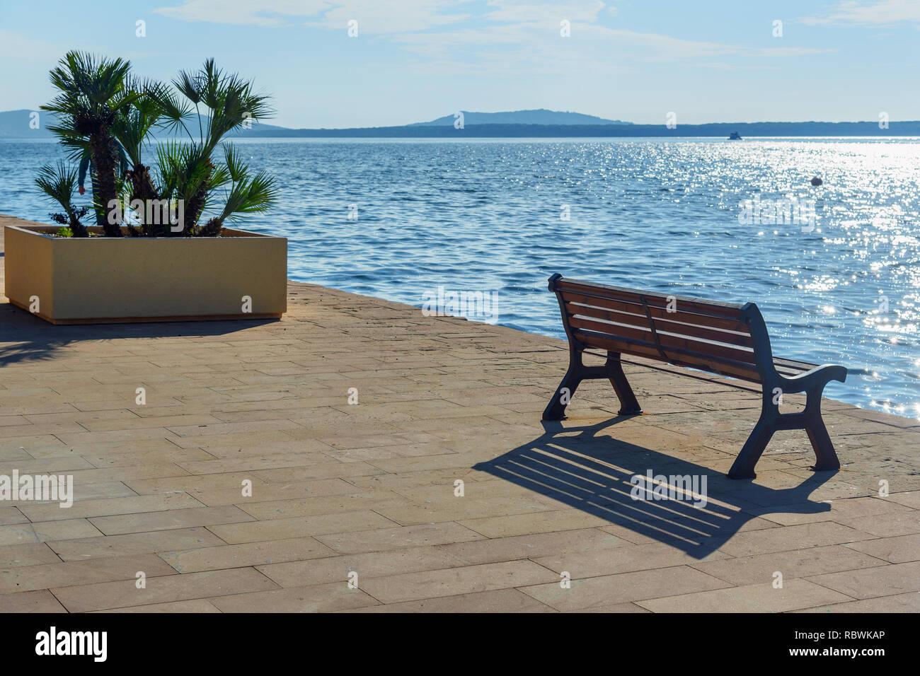 Waterfront of Orbetello on peninsula Argentario in Tuscany. Italy - Stock Image