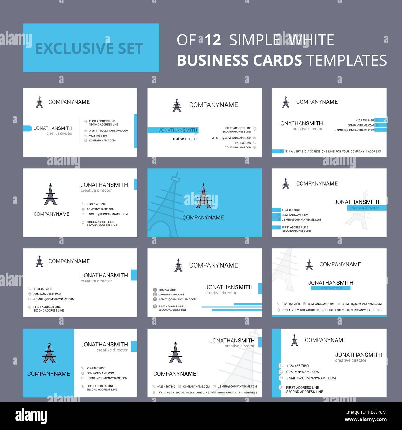 Set of 12 Eiffel tower Creative Busienss Card Template. Editable Creative logo and Visiting card background - Stock Vector