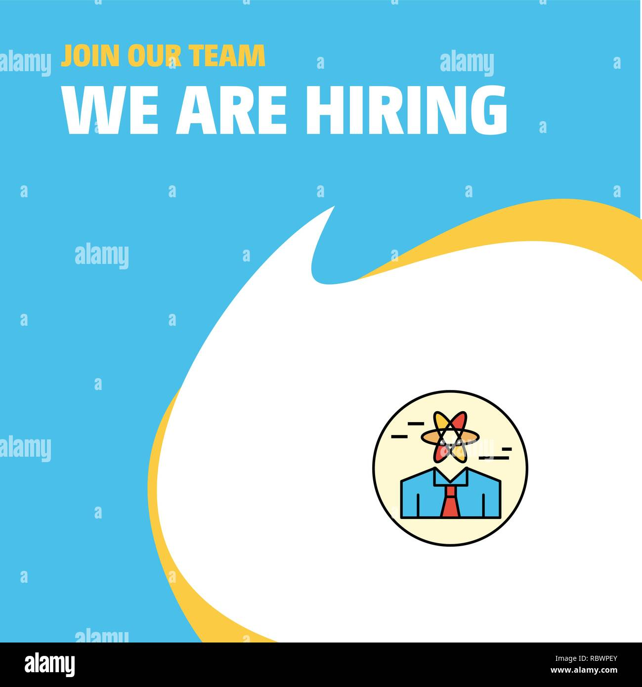 Join Our Team. Busienss Company Confused man  We Are Hiring Poster Callout Design. Vector background Stock Vector