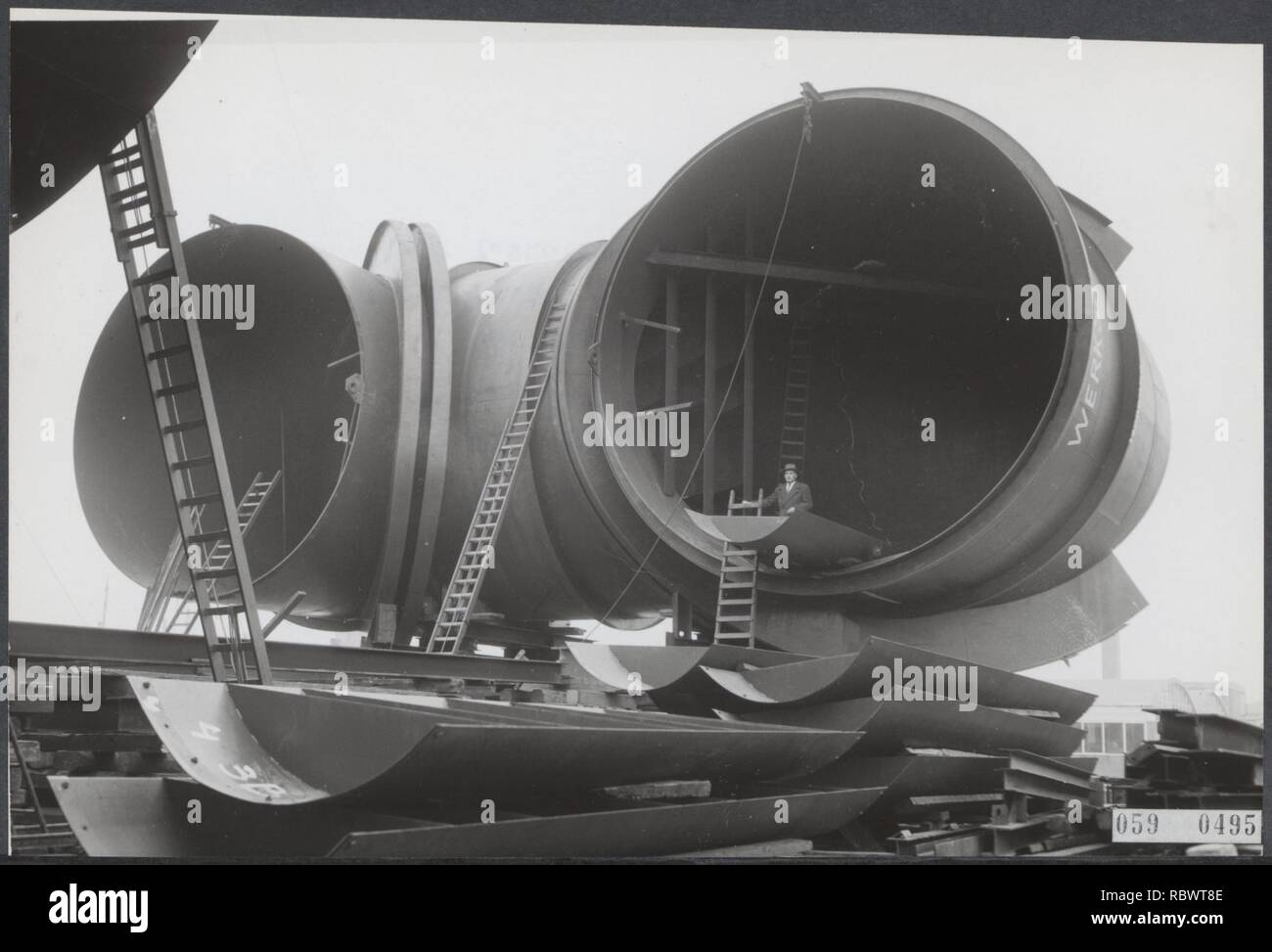 Aanleg windtunnel, Bestanddeelnr 059-0495. - Stock Image