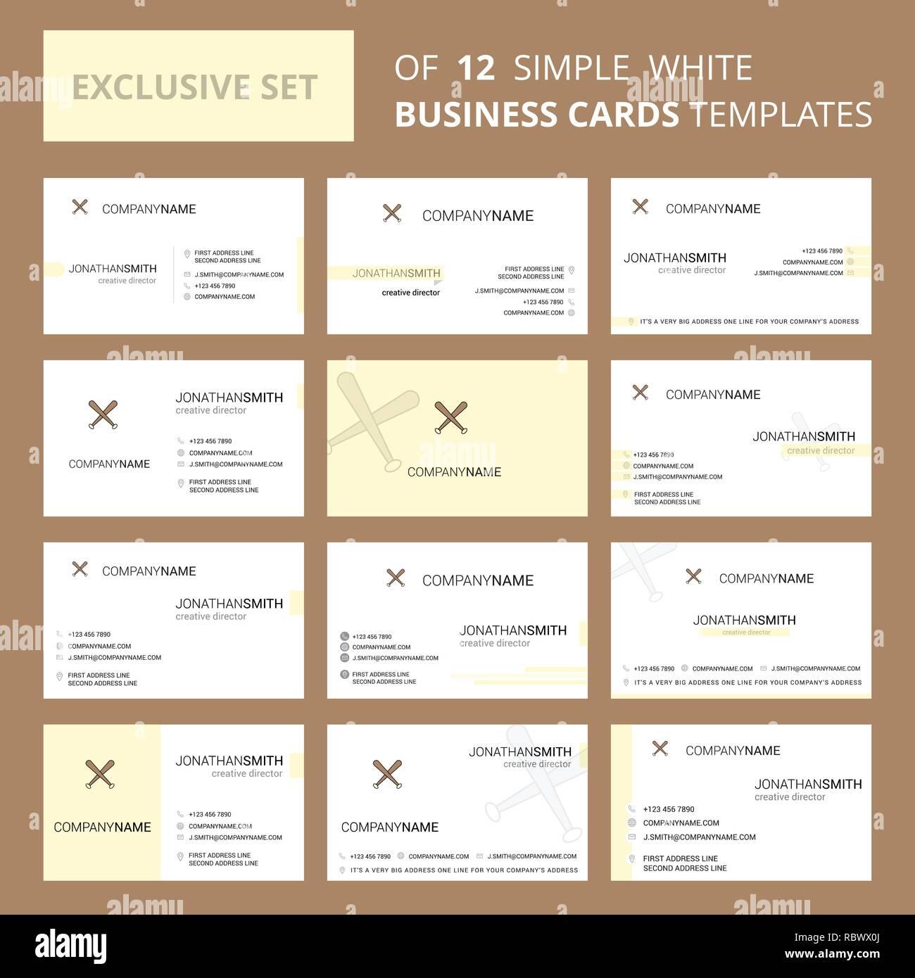 Bat Bus 12 >> Set Of 12 Baseball Bat Creative Busienss Card Template