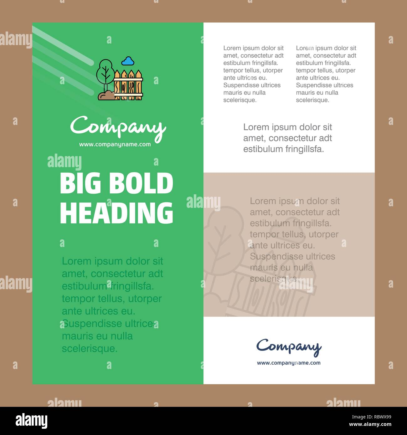 Garden Business Company Poster Template. with place for text and images. vector background - Stock Vector