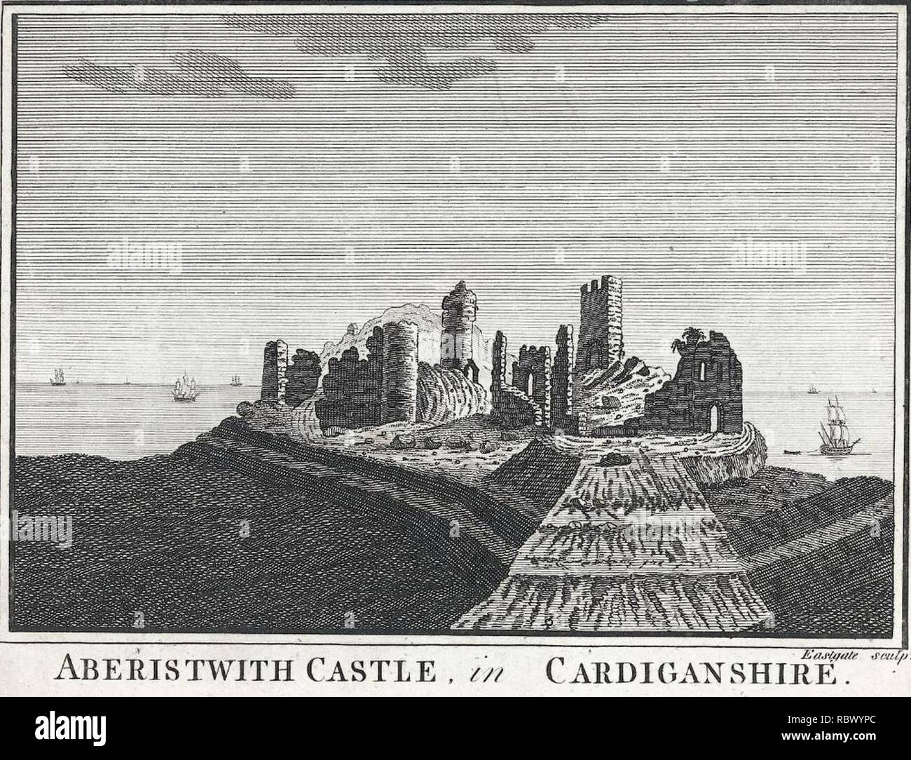 Aberistwith Castle, in Cardiganshire (1131683). - Stock Image