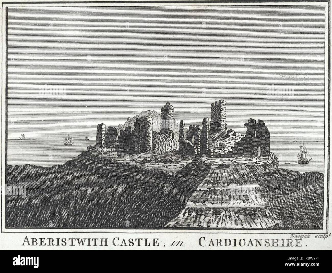 Aberistwith Castle, in Cardiganshire (1132234). - Stock Image