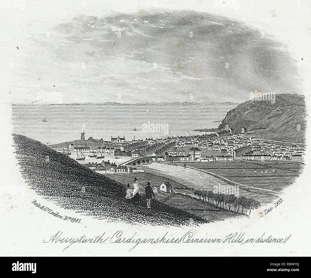 Aberystwith, Cardiganshire (Carnarvon hills in distance) (1131744). - Stock Image