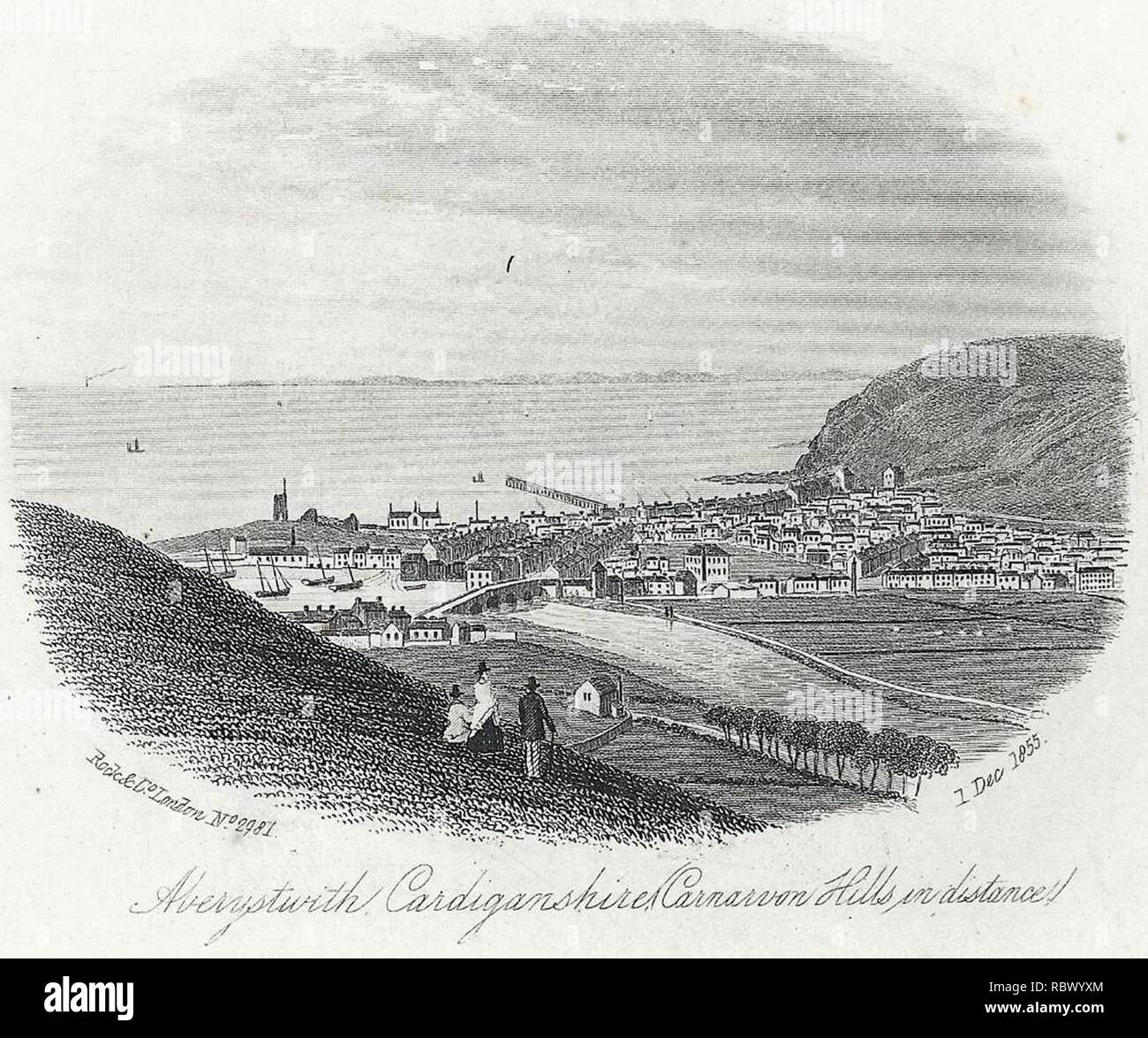 Aberystwith, Cardiganshire (Carnarvon hills in distance) (1132313). - Stock Image