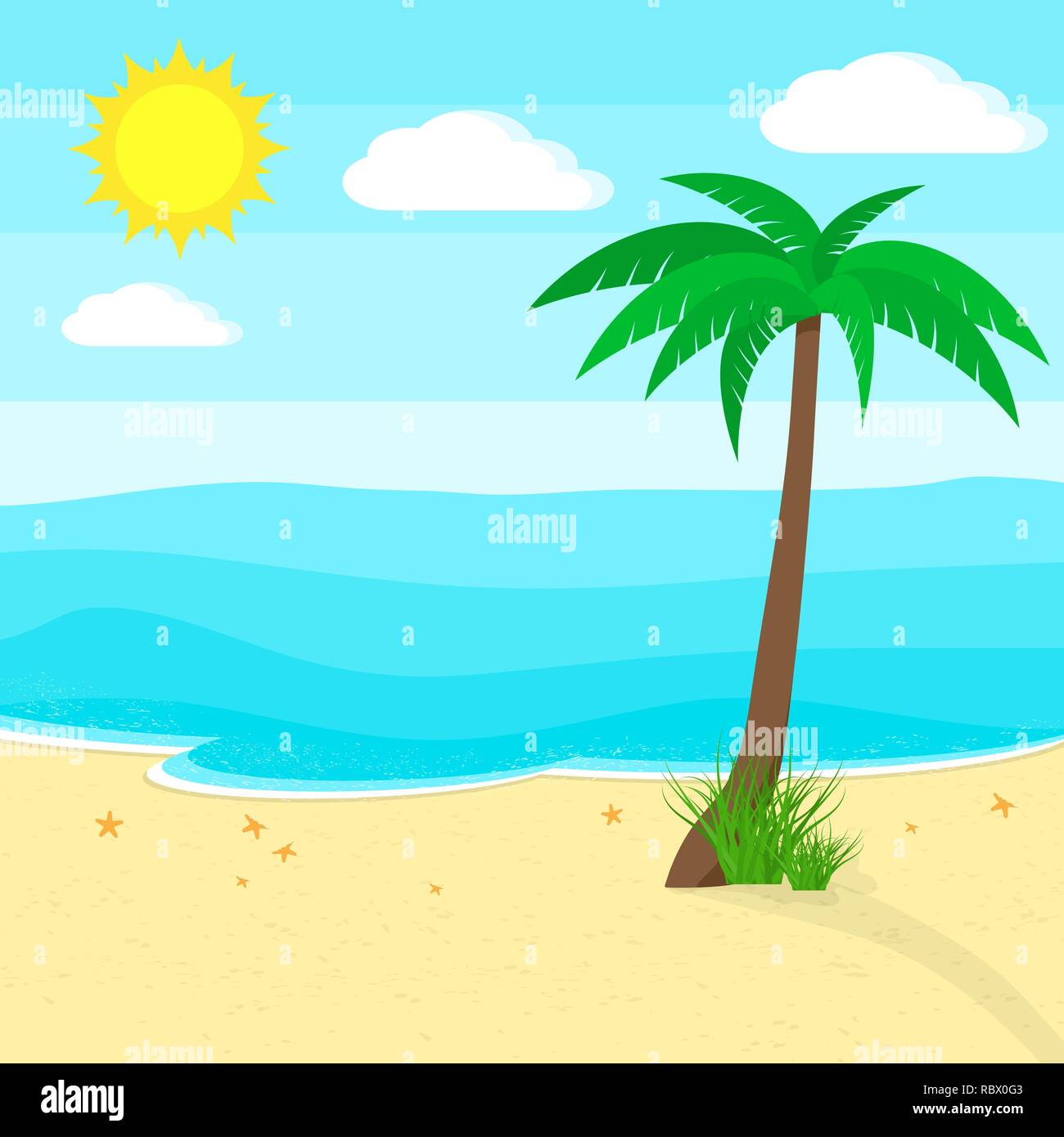 Ocean and beach with palm tree in flat design. Vector illustration. Travel or vacation concept - Stock Vector