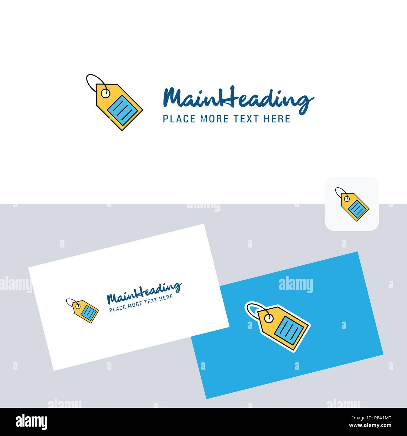 Sale tag vector logotype with business card template