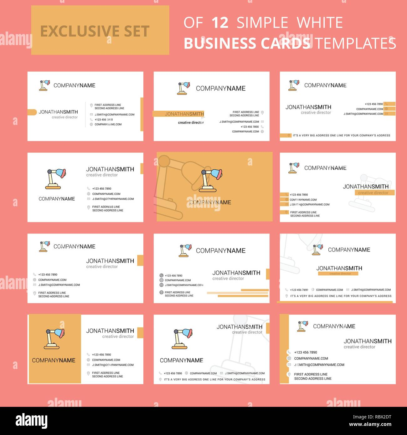 Set of 12 Table lamp Creative Busienss Card Template