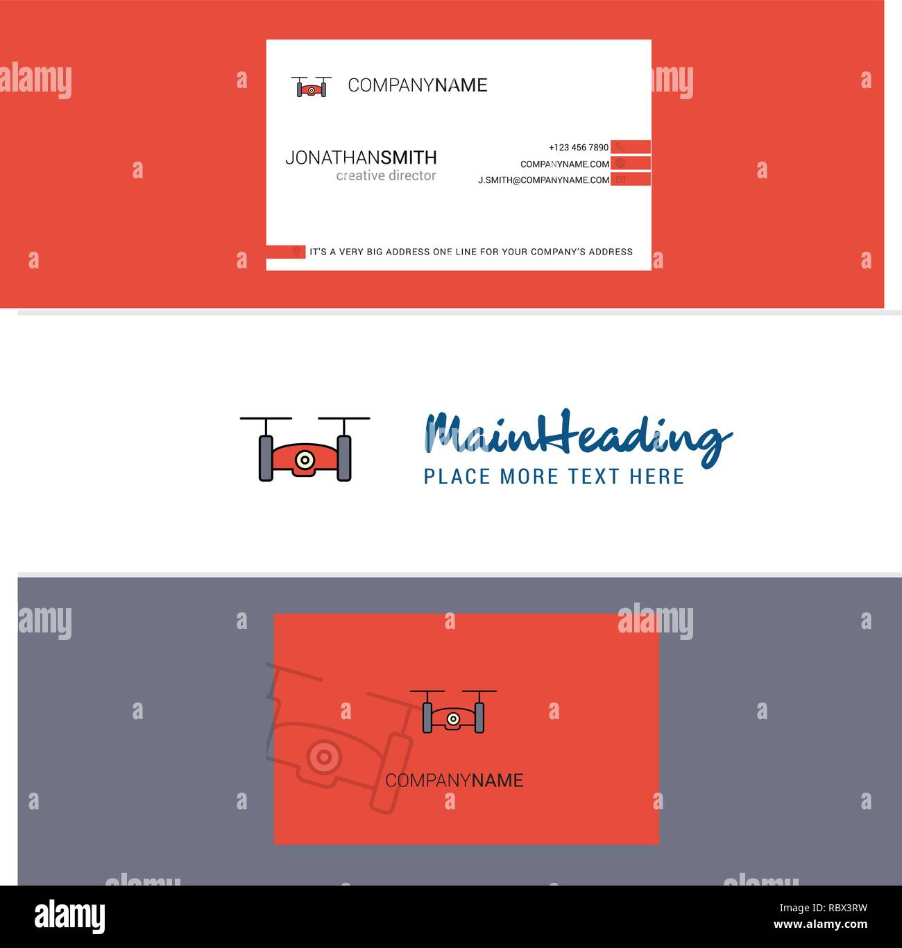 Beautiful Drone camera Logo and business card. vertical Design Vector - Stock Image