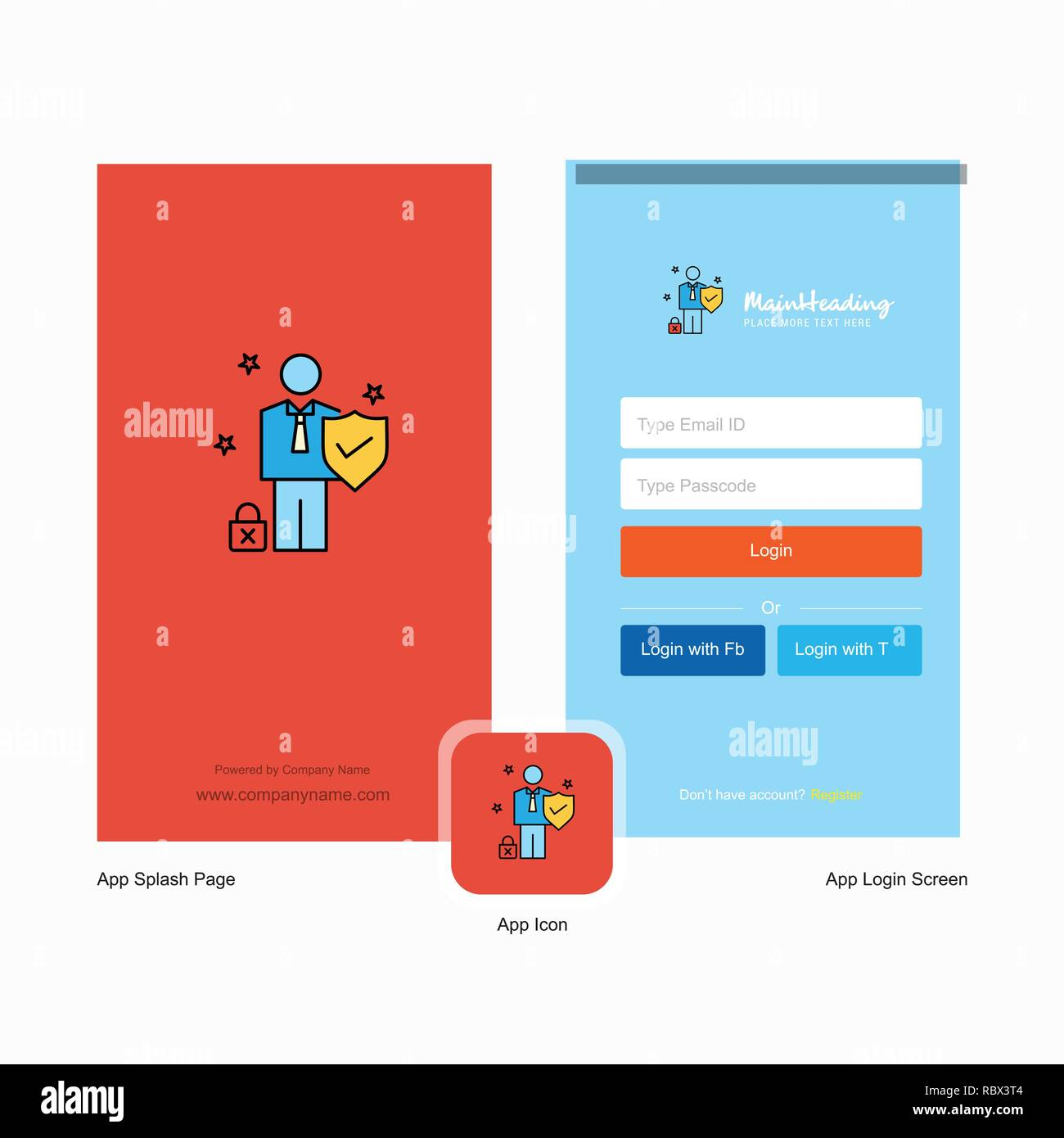 Company Employee Splash Screen and Login Page design with