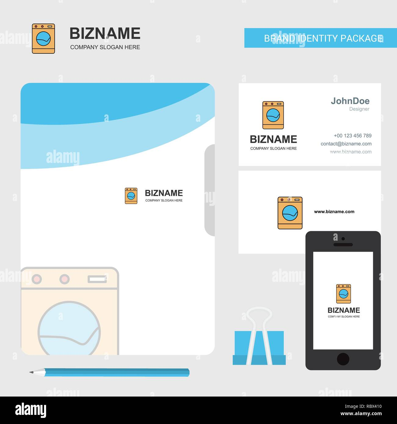 Washing machine Business Logo, File Cover Visiting Card and