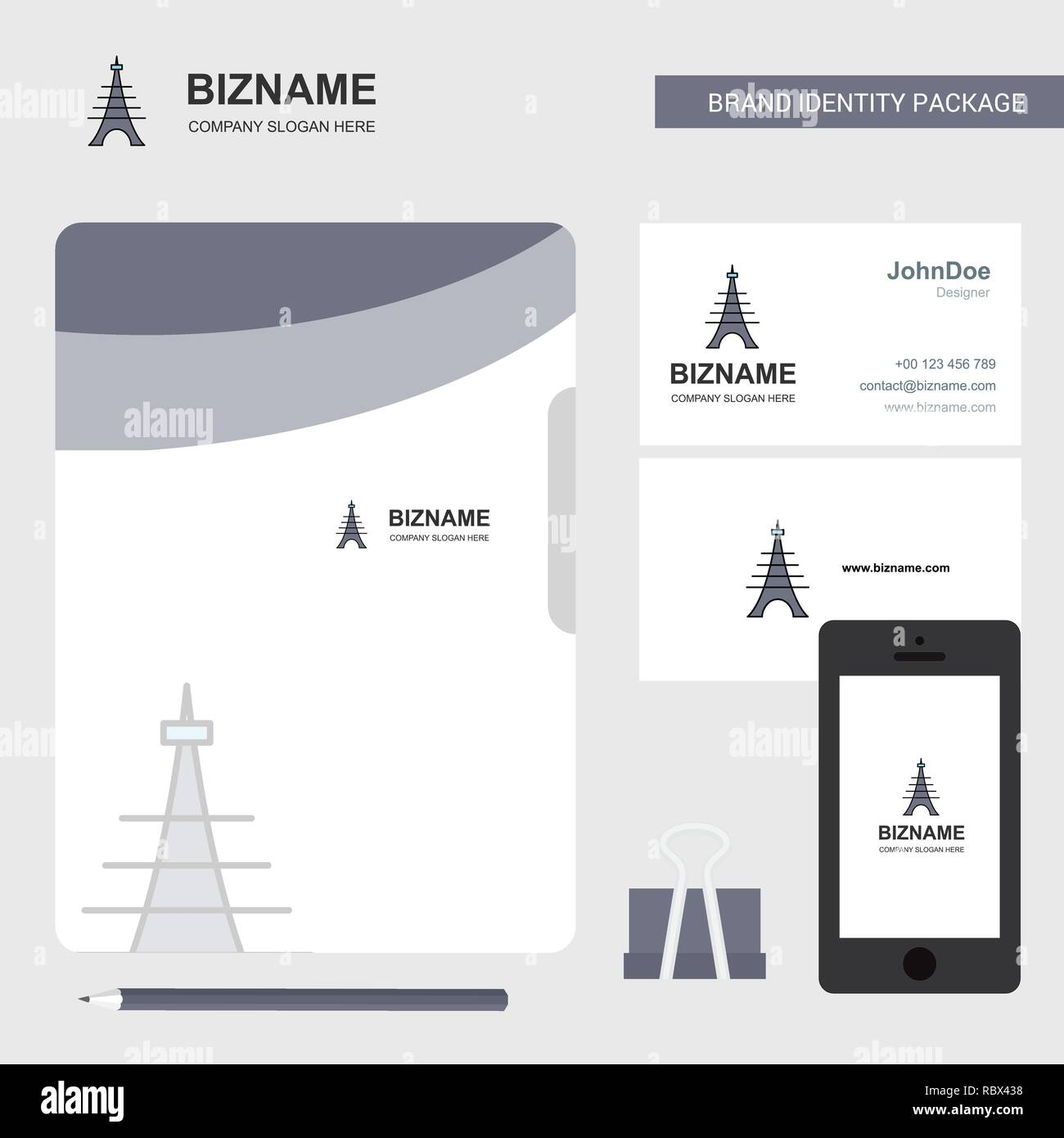 Eiffel tower Business Logo, File Cover Visiting Card and Mobile App Design. Vector Illustration - Stock Vector