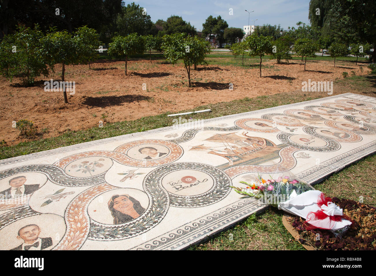 Memorial to the victims of the 2015 terrorist attack, Bardo National Museum, Tunis, Tunisia, Africa - Stock Image