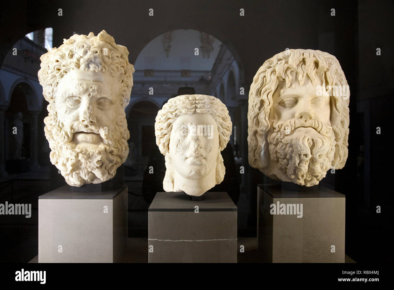 Portraits coming from Gightis with Hercules (left) and Jupiter Serapis (right), Bardo National Museum, Tunis, Tunisia, Africa Stock Photo