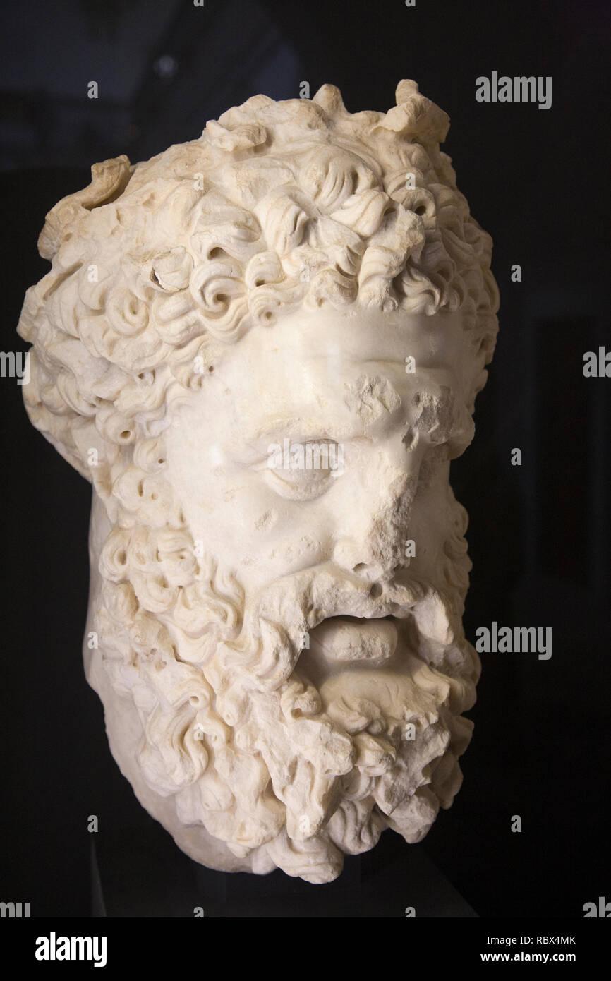 Portrait of Hercules coming from Gightis, Bardo National Museum, Tunis, Tunisia, Africa Stock Photo