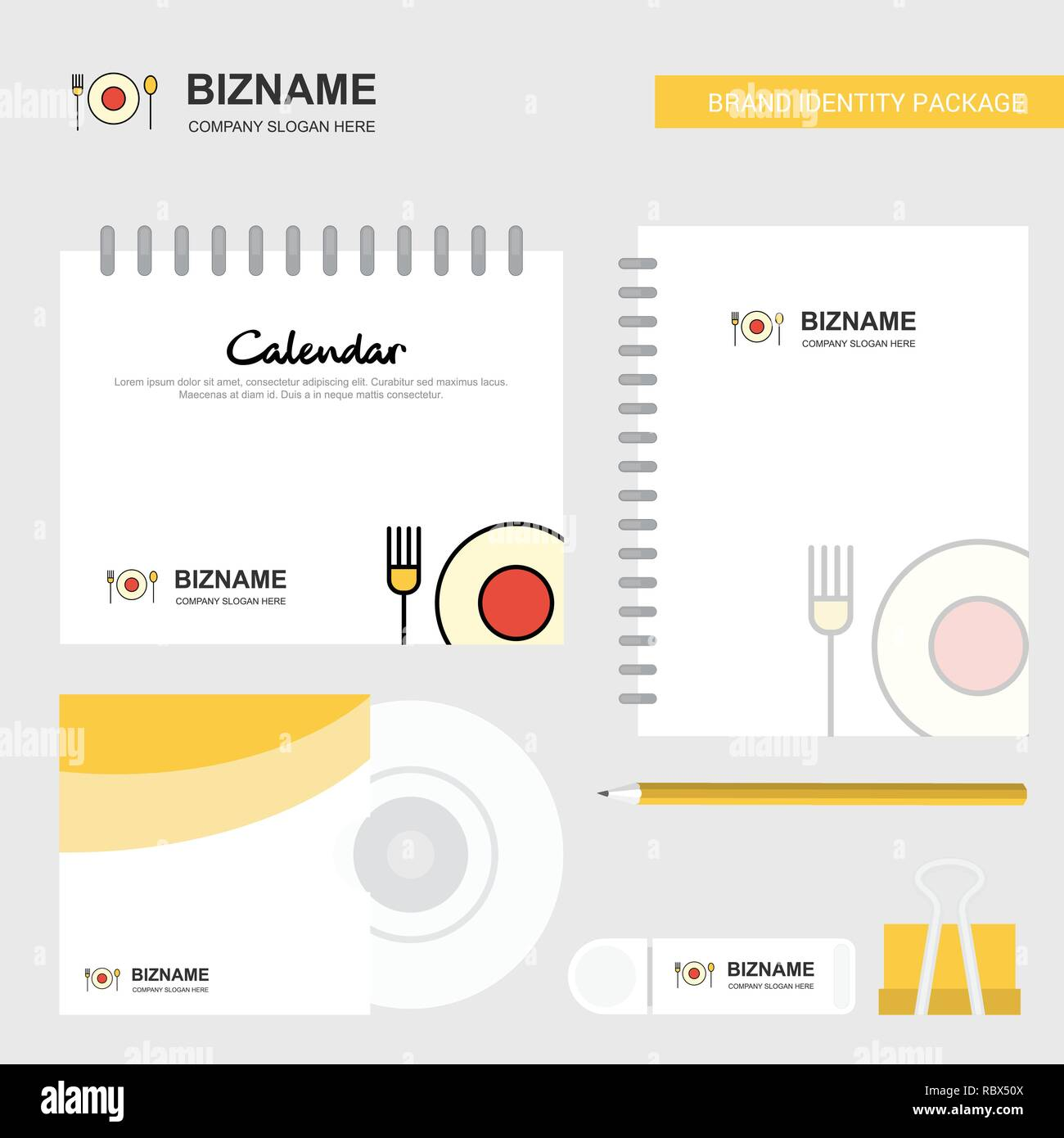 Food Logo Calendar Template Cd Cover Diary And Usb Brand